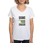 Official Earthquake Chaser Women's V-Neck T-Shirt