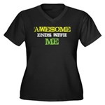 Awesome end with Me Women's Plus Size V-Neck Dark