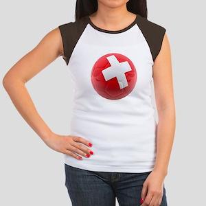 Switzerland World Cup Ball Women's Cap Sleeve T-Sh
