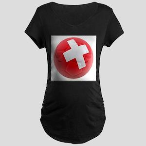Switzerland World Cup Ball Maternity Dark T-Shirt