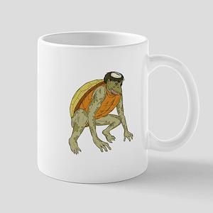 Kappa Monster Crouching Drawing Mugs