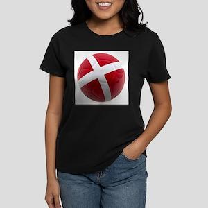 Denmark World Cup Ball Women's Dark T-Shirt