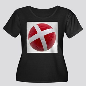 Denmark World Cup Ball Women's Plus Size Scoop Nec