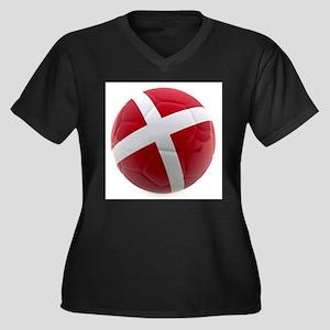 Denmark World Cup Ball Women's Plus Size V-Neck Da