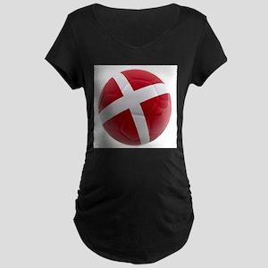 Denmark World Cup Ball Maternity Dark T-Shirt
