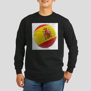 Spain World Cup Ball Long Sleeve Dark T-Shirt