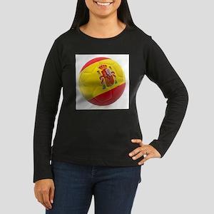 Spain World Cup Ball Women's Long Sleeve Dark T-Sh