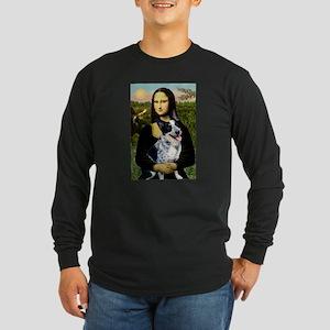 Mona Lisa/Cattle Dog Long Sleeve Dark T-Shirt