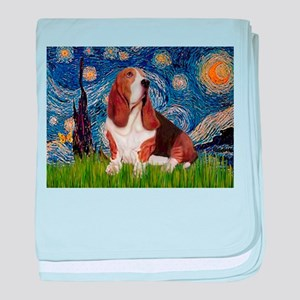 Starry Night Basset baby blanket