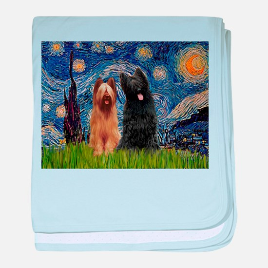 Starry Night & Briard Pair baby blanket