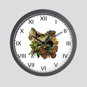 Provencal Butterfly Twins Wall Clock