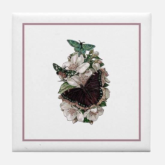 Rose Stripe Butterfly Briar RoseTile Coaster