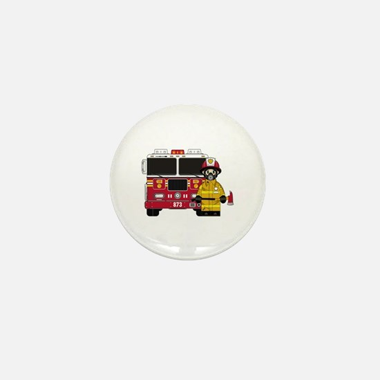 Firefighter and Fire Engine Mini Button