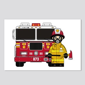 Firefighter and Fire Engine Postcards (Pk of 8)