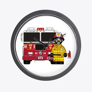 Firefighter and Fire Engine Wall Clock