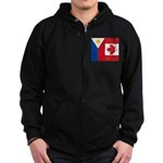 PI Flag & Canada Flag Zip Hoodie (dark)