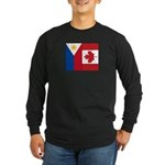 PI Flag & Canada Flag Long Sleeve Dark T-Shirt