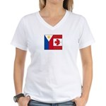 PI Flag & Canada Flag Women's V-Neck T-Shirt