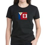 PI Flag & Canada Flag Women's Dark T-Shirt