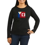 PI Flag & Canada Flag Women's Long Sleeve Dark T-S
