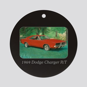 69 Red Charger Painting Ornament (Round)