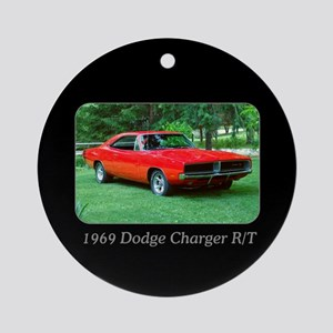 69 Red Charger Photo Ornament (Round)