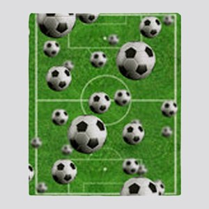 World Cup Balls over Field Throw Blanket