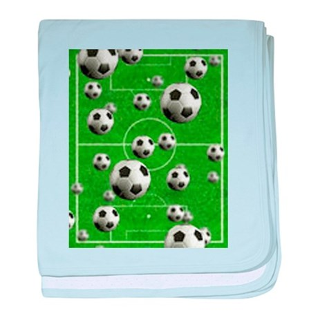 World Cup Balls over Field baby blanket