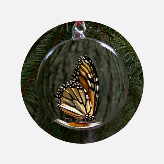 "Monarch Butterfly Christmas 3.5"" Button"