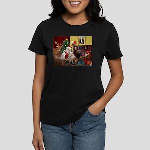 Santa's Bull Terrier Women's Dark T-Shirt