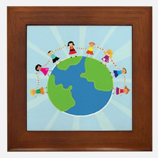 Kids Around the World Framed Tile