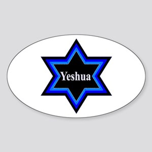 Yeshua Star of David Oval Sticker - 10 Pack