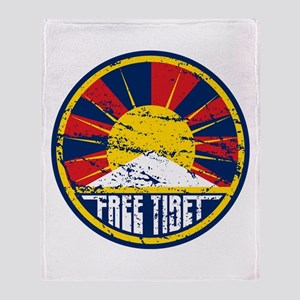 Free Tibet Grunge Throw Blanket