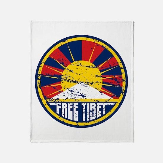 Free Tibet Grunge Throw Blanket