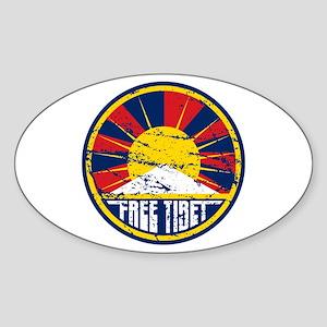 Free Tibet Grunge Sticker (Oval)