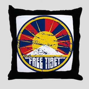 Free Tibet Grunge Throw Pillow