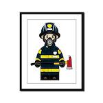Firefighter in Respirator Framed Panel Print