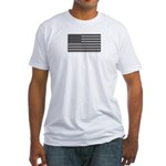 USA American Flag Gray Camo Fitted T-Shirt