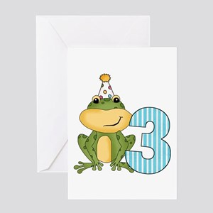 Party Frog 3rd Birthday Greeting Card