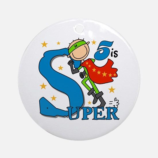 Super Boy 5th Birthday Ornament (Round)