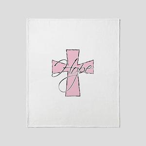 Pink Hope Cross Throw Blanket