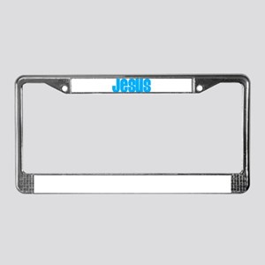 Cyan Jesus License Plate Frame