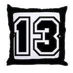 Varsity Uniform Number 13 Throw Pillow