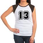 Varsity Uniform Number 13 Women's Cap Sleeve T-Shi
