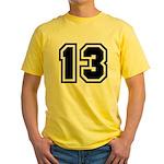 Varsity Uniform Number 13 Yellow T-Shirt