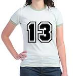 Varsity Uniform Number 13 Jr. Ringer T-Shirt