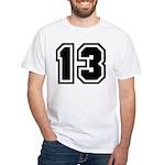 Varsity Uniform Number 13 Premium White T-Shirt