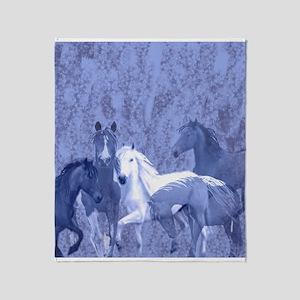 Blue Horses In the Fog Throw Blanket