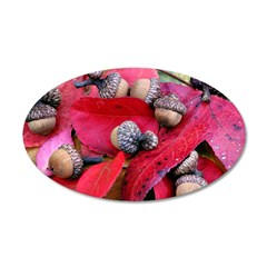 Acorns and Red Leaves 38.5 x 24.5 Oval Wall Peel