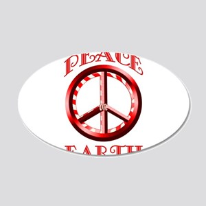 Candy Cane Peace on Earth 22x14 Oval Wall Peel